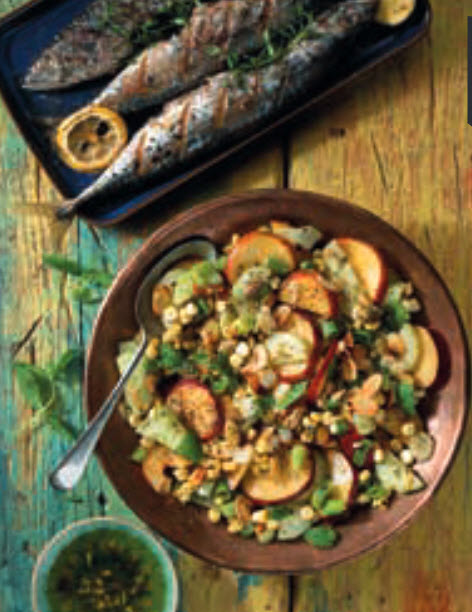 Cucumber Corn and Peach Salad