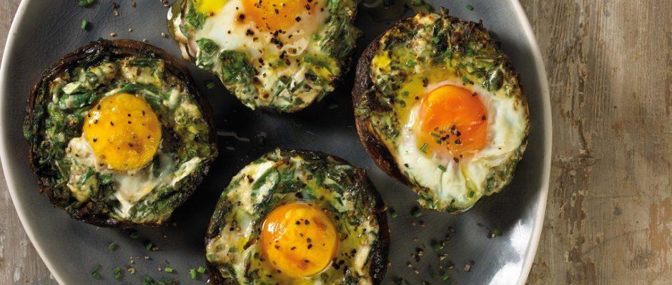 Baked Egg Mushroom Caps