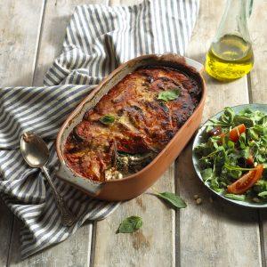 Aubergine and ricotta lasagna